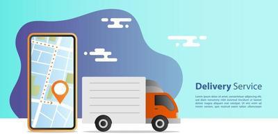 conceito de entrega expressa online. entrega de caminhão para atendimento com aplicativo móvel de localização. conceito de e-commerce.