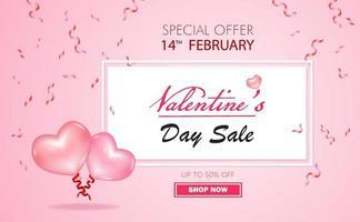 oferta especial de venda do dia dos namorados com até 50% de desconto com a cor rosa do balão rosa e branco do vetor. vetor