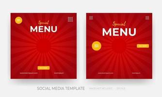 conjunto de modelo de postagem de banner de mídia social de alimentos vetor