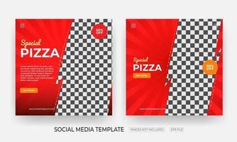 conjunto de modelos de postagem de banner de mídia social de comida vetor