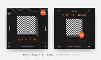 conjunto de modelo de postagem de banner de mídia social de moda e vestuário vetor