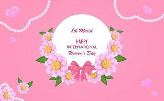 plano de fundo do dia internacional da mulher com seguidor de corte de papel de 8 de vetor