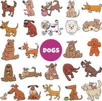 grande conjunto de personagens de quadrinhos de cachorros e cachorros