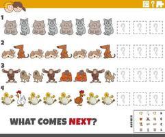 jogo de padrão educacional para crianças com animais de desenho animado vetor