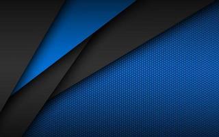 Design de material moderno preto e azul com padrão hexagonal perfurado, folhas de papel sobrepostas escuras, modelo corporativo para o seu negócio, fundo widescreen abstrato de vetor