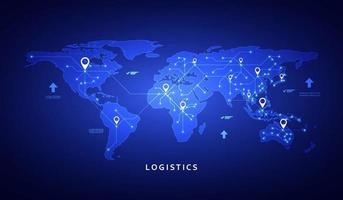 banner da web de vetor sobre o tema da logística, armazém, frete, transporte de carga. armazenamento de mercadorias, seguros. design plano moderno.