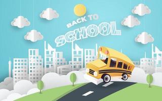 ônibus escolar papel arte estilo dirigindo na estrada vetor