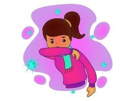 personagem espirrando e tossindo certo e errado. recomendação médica de como espirrar corretamente. prevenção contra vírus e infecções. conceito de higiene. vetor