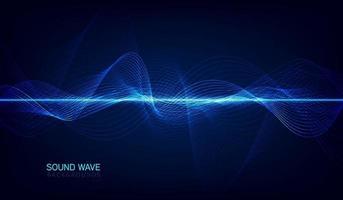 equalizador digital azul abstrato, vetor de elemento de padrão de onda sonora