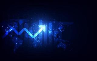 fundo de tecnologia abstrata de transformação digital de gráfico de seta de aumento futurista. big data e estoque de moeda de crescimento de negócios e economia futura de investimento. vetor