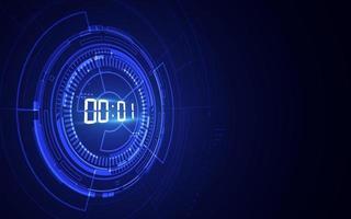Fundo de tecnologia futurista abstrato com conceito de cronômetro digital e vetor de contagem regressiva