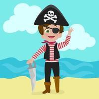 pequeno pirata fofo vetor