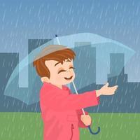 menino com guarda-chuva sob a chuva vetor