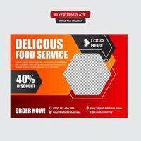 menu de comida e modelo de folheto de restaurante vetor