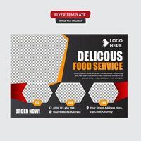 modelo de promoção de panfleto de comida de restaurante vetor