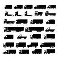 conjunto de caminhões em fundo branco vetor