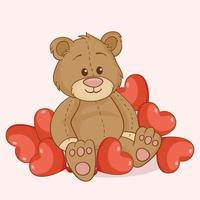 urso de brinquedo com corações vermelhos vetor