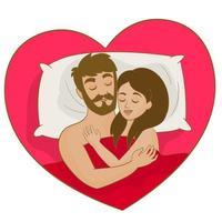 jovem casal deitado na cama juntos vetor