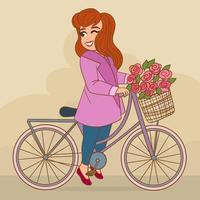 Mulher bonita e sorridente com bicicleta retro roxa vetor