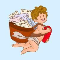 cupido segurando cartas de amor vetor