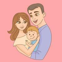 família feliz junto vetor