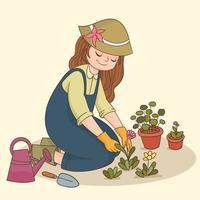 jardinagem em casa vetor