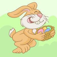 coelhinho da páscoa com cesta de ovos coloridos vetor