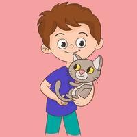 menino e seu gato vetor