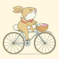 coelho da páscoa andando de bicicleta vetor