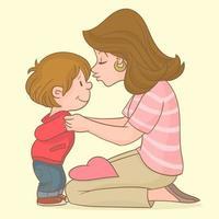 mãe beijando seu filho vetor