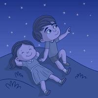 irmãos veem estrela no céu