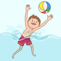 menino jogando bola vetor