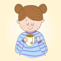 mulher bebendo chá vetor