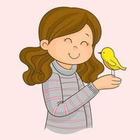 a menina e o pássaro vetor