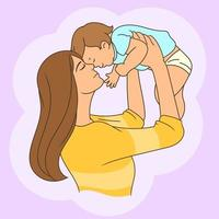 mãe joga bebê para cima vetor