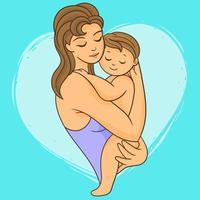 mãe com seu bebê recém-nascido vetor