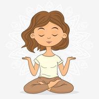 mulher meditando fazendo pose de lótus de ioga vetor