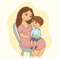 jovem mãe com uma criança pequena no colo vetor