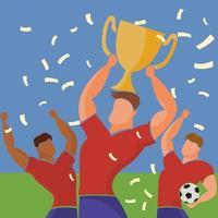time de jogadores de futebol comemorando a vitória vetor