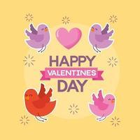 cartão de feliz dia dos namorados com pássaros bonitos e coração vetor
