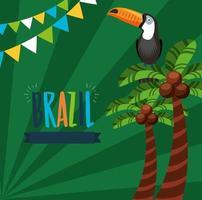 celebração do carnaval brasileiro com letras e tucano vetor