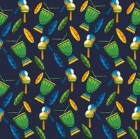 celebração do carnaval brasileiro com padrão de instrumentos musicais vetor