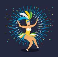menina brasileira com fantasia de carnaval dançando vetor