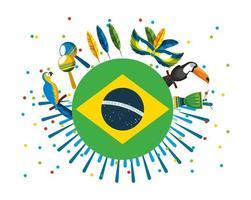 celebração do carnaval brasileiro com bandeira vetor