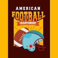 pôster de esporte de futebol americano com bola e capacete