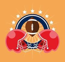 pôster de esporte de futebol americano com bola e capacetes