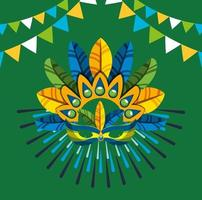 festa de carnaval brasileiro com chapéu de penas