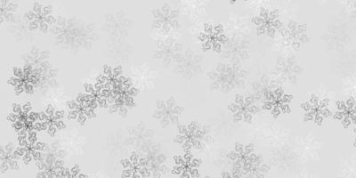 modelo de doodle de vetor cinza claro com flores.