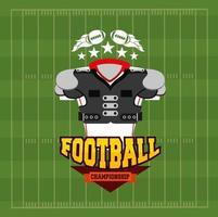 pôster esportivo de futebol americano com equipamento de camisa frontal vetor