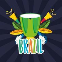 celebração do carnaval brasileiro com instrumentos de bongô